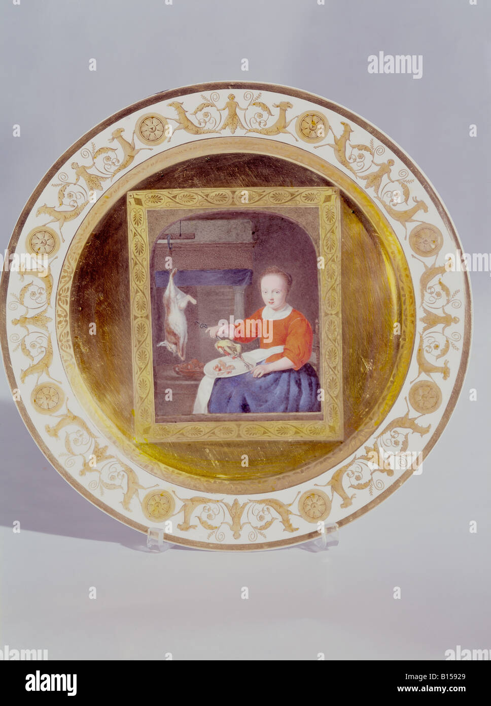 """fine arts, porcelain, plate, series with gold plating, """"Cook with rabbit and pheasant"""", based on Gabriel Metsu (1629 Stock Photo"""