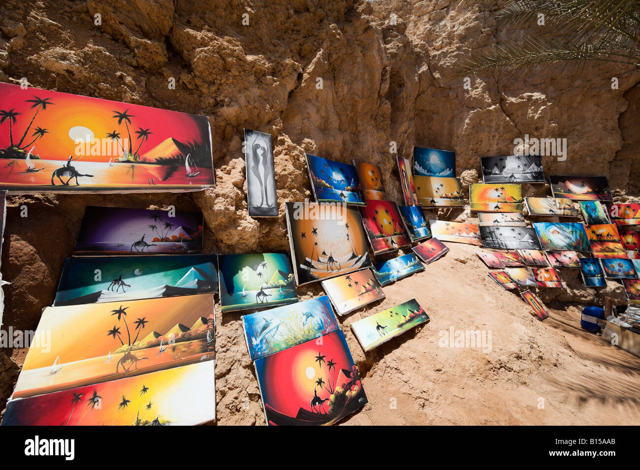 Art for sale on a beach in Sharm el-Sheikh, Red Sea Coast, South Sinai, Egypt - Stock Image