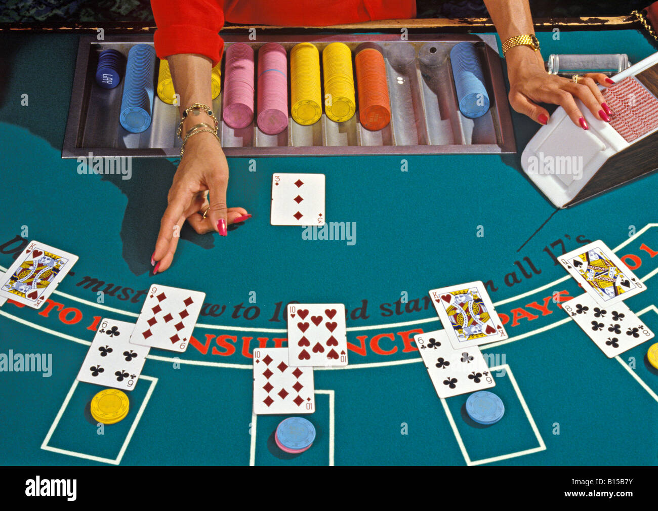 A blackjack (21) table in a casino. - Stock Image