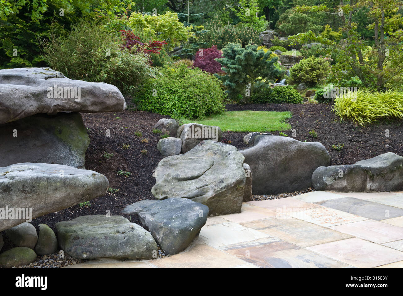 Newly Planted Border On Front Of Earlier Established Rock Garden