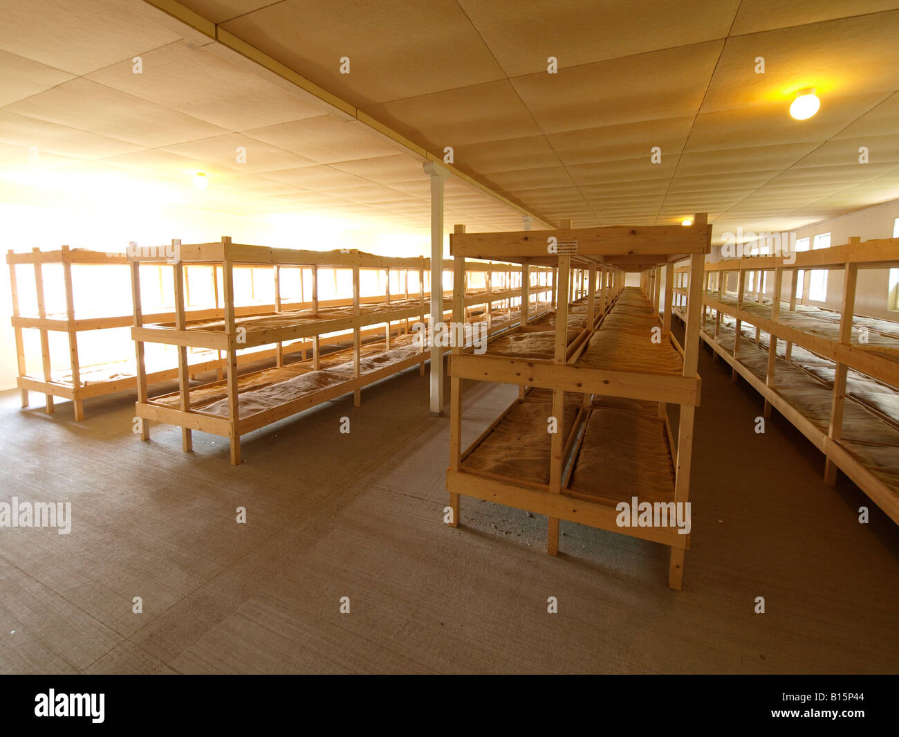 Barrack interior in the concentration camp Vught Noord Brabant the Netherlands national monument memorial museum - Stock Image