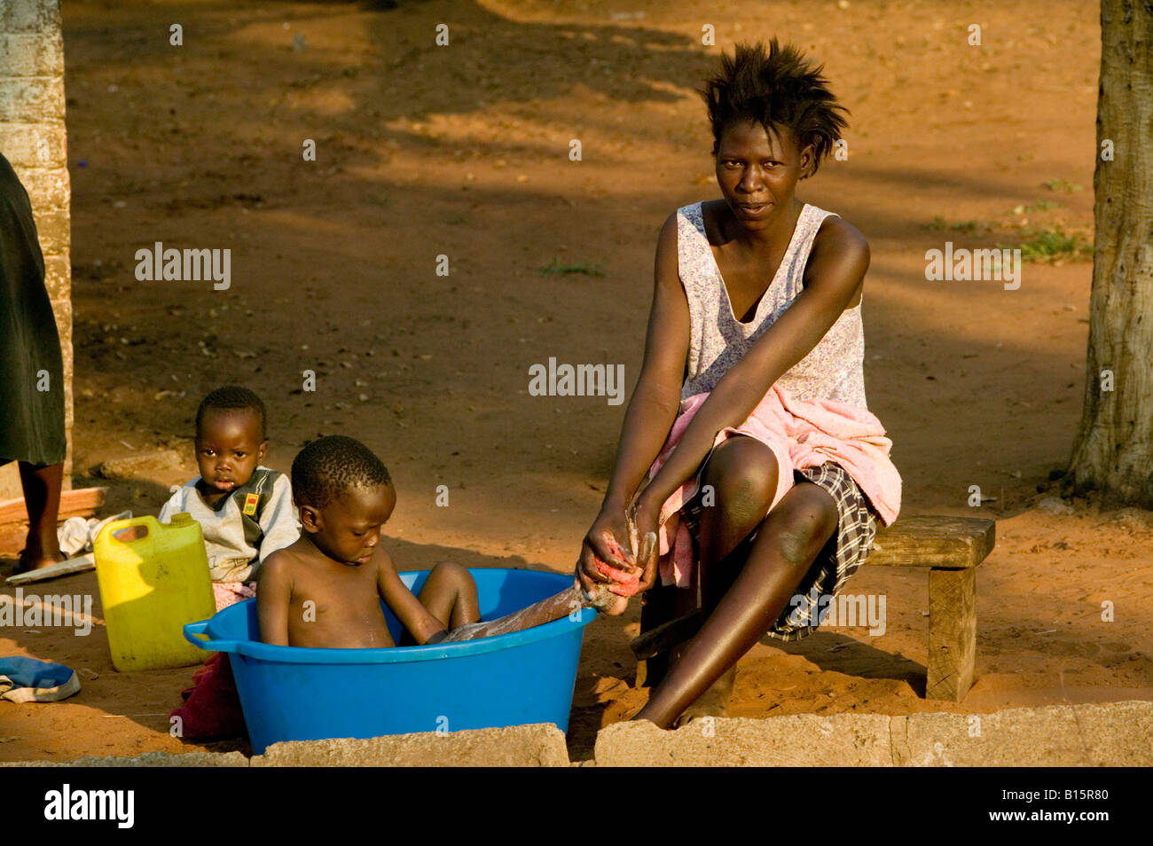 Africa, Afrique, Zimbabwe, children, girl, people, culture, etnic, rural, typical, travel, holidays, portrait, poverty, - Stock Image