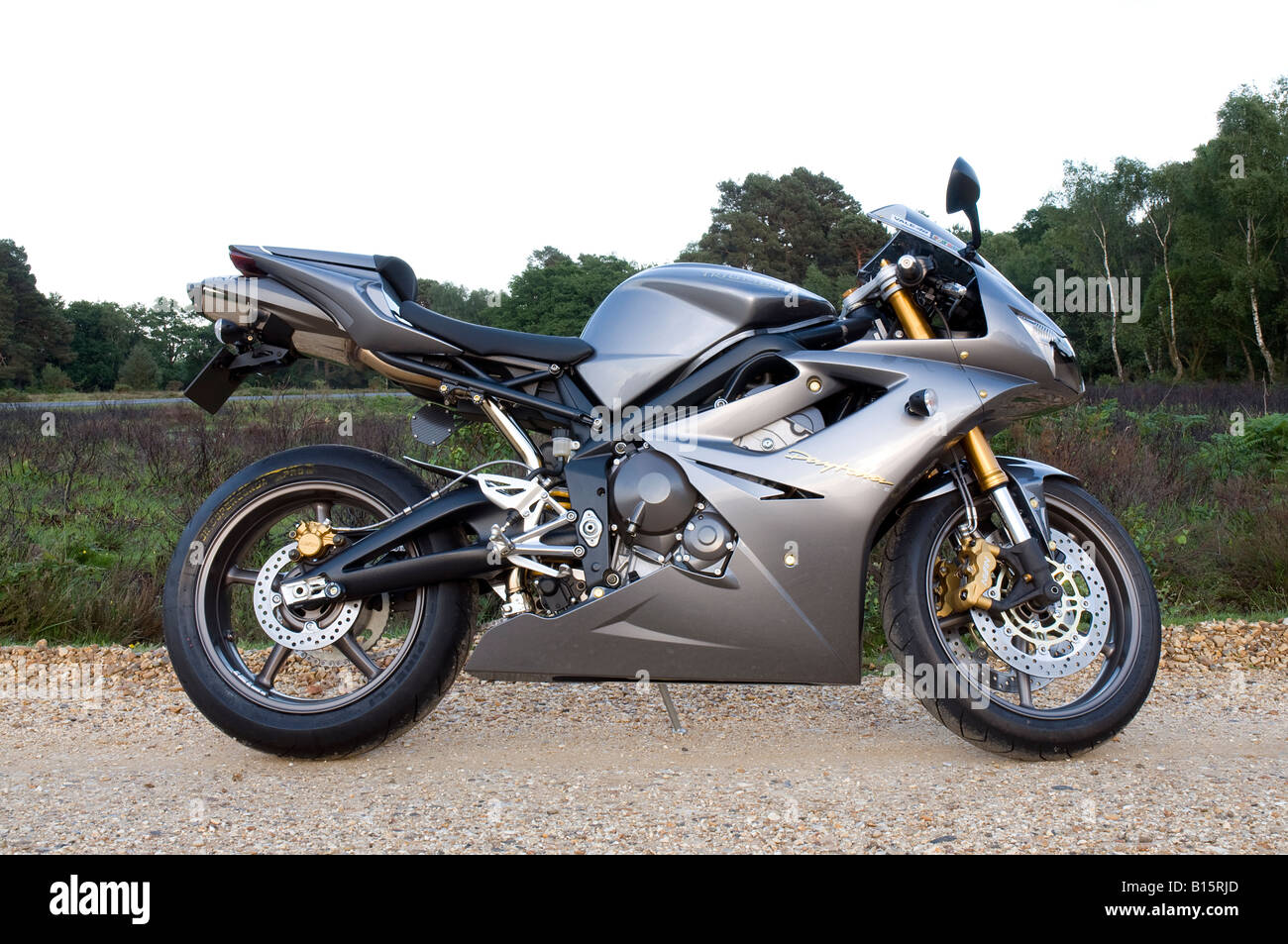 side view of Triumph Daytona 675cc 3 cylinder Stock Photo: 17953333 ...
