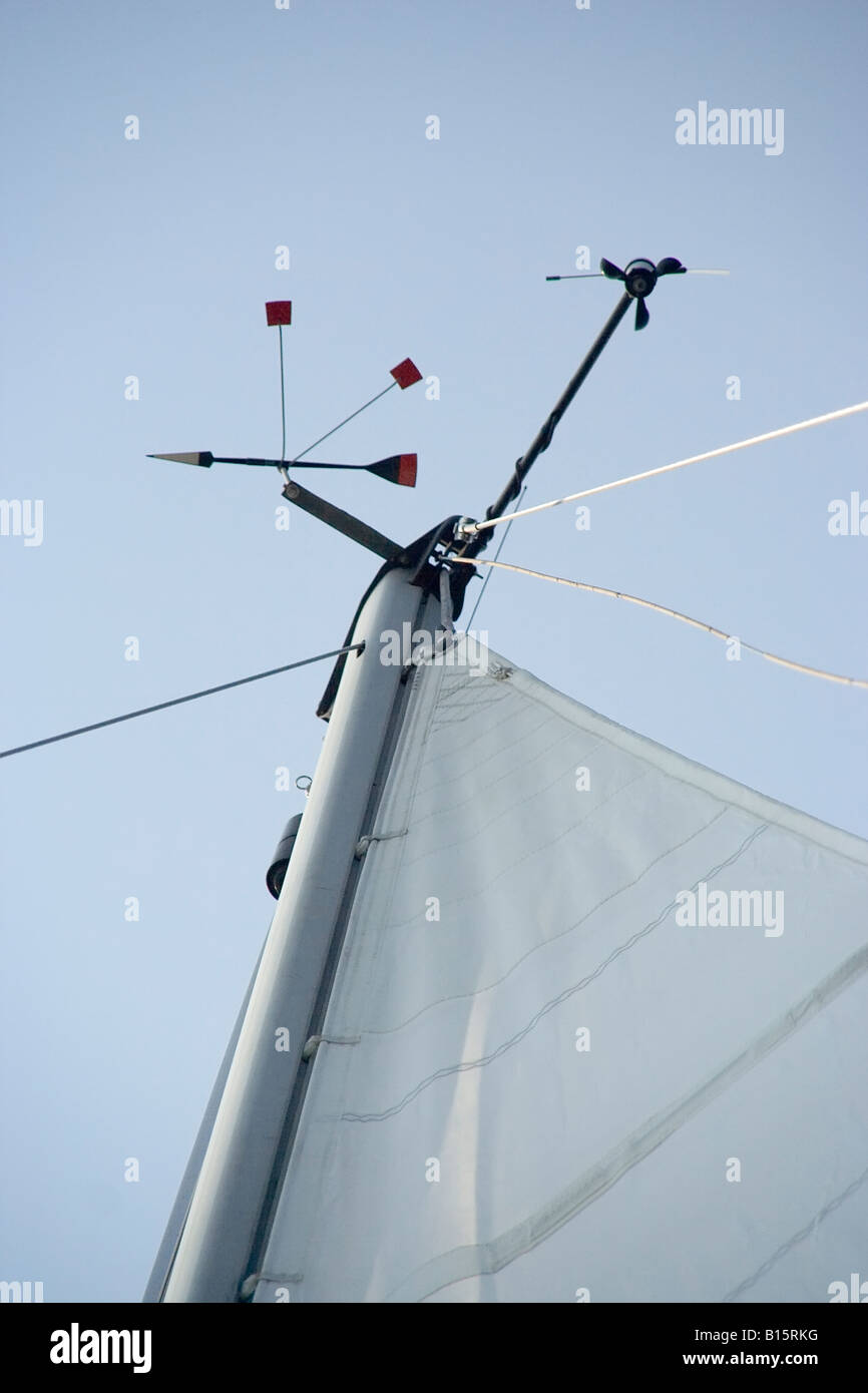 Photo of a sailboat mast with the mainsail and wind directionals on it - Stock Image