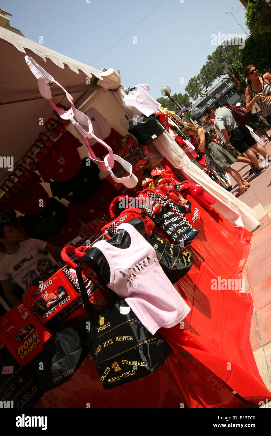 Stall selling motor-racing products at the Monaco Grand Prix 2007 - Stock Image