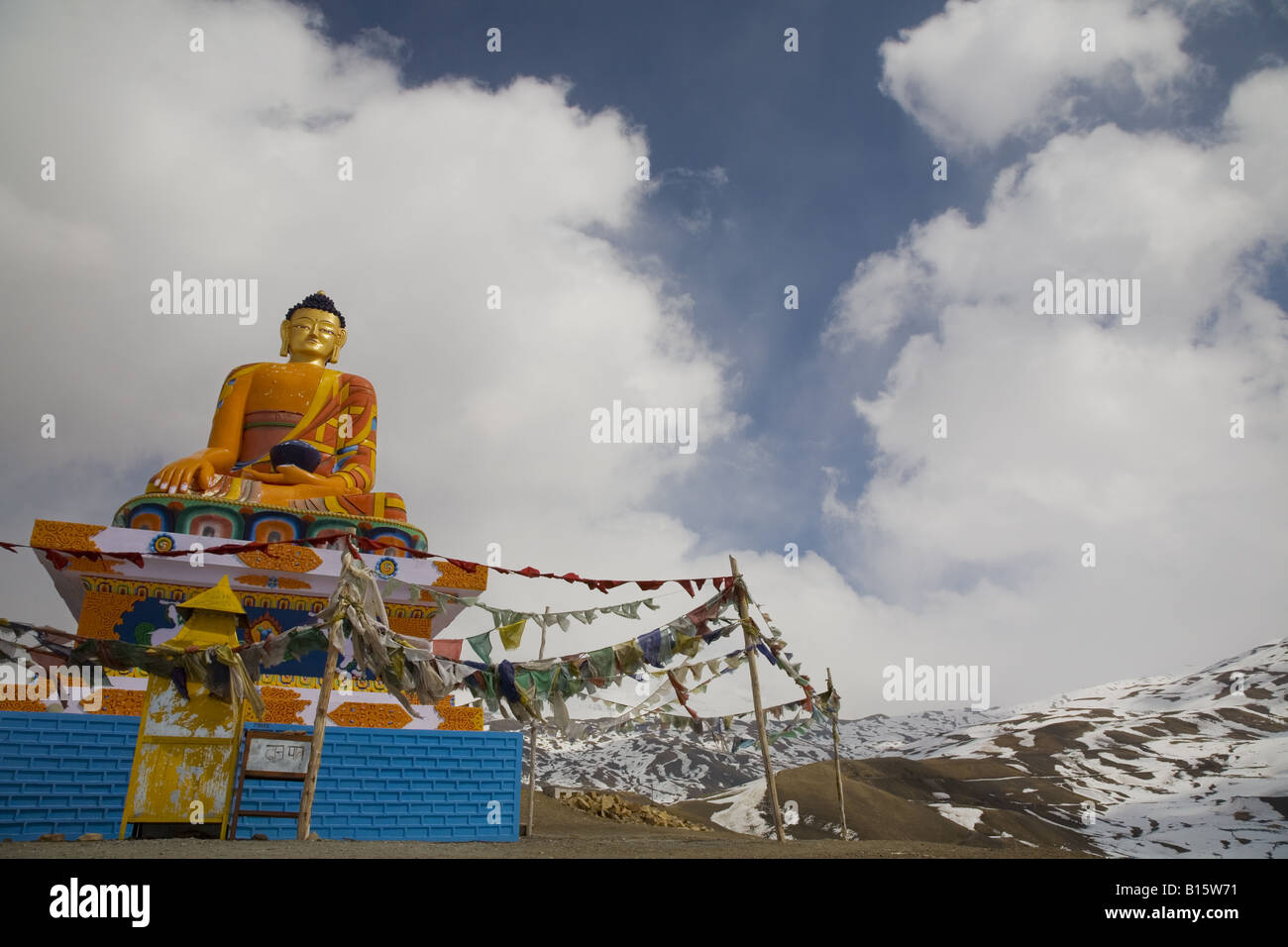 Large statue of Gautam Buddha at Langza village, Spiti, Himachal Pradesh, India. - Stock Image
