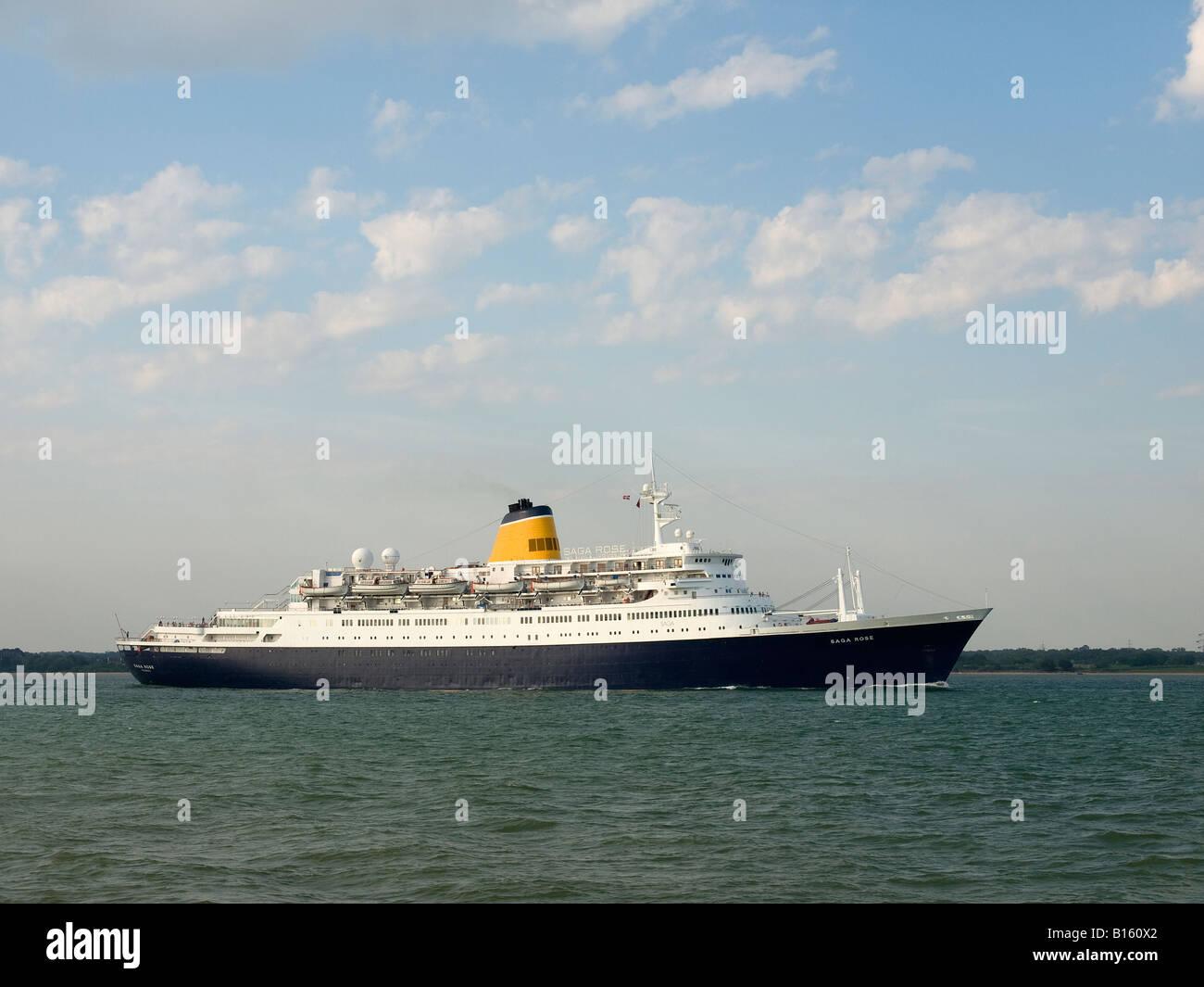 Cruise ship Saga Rose leaving Southampton UK - Stock Image