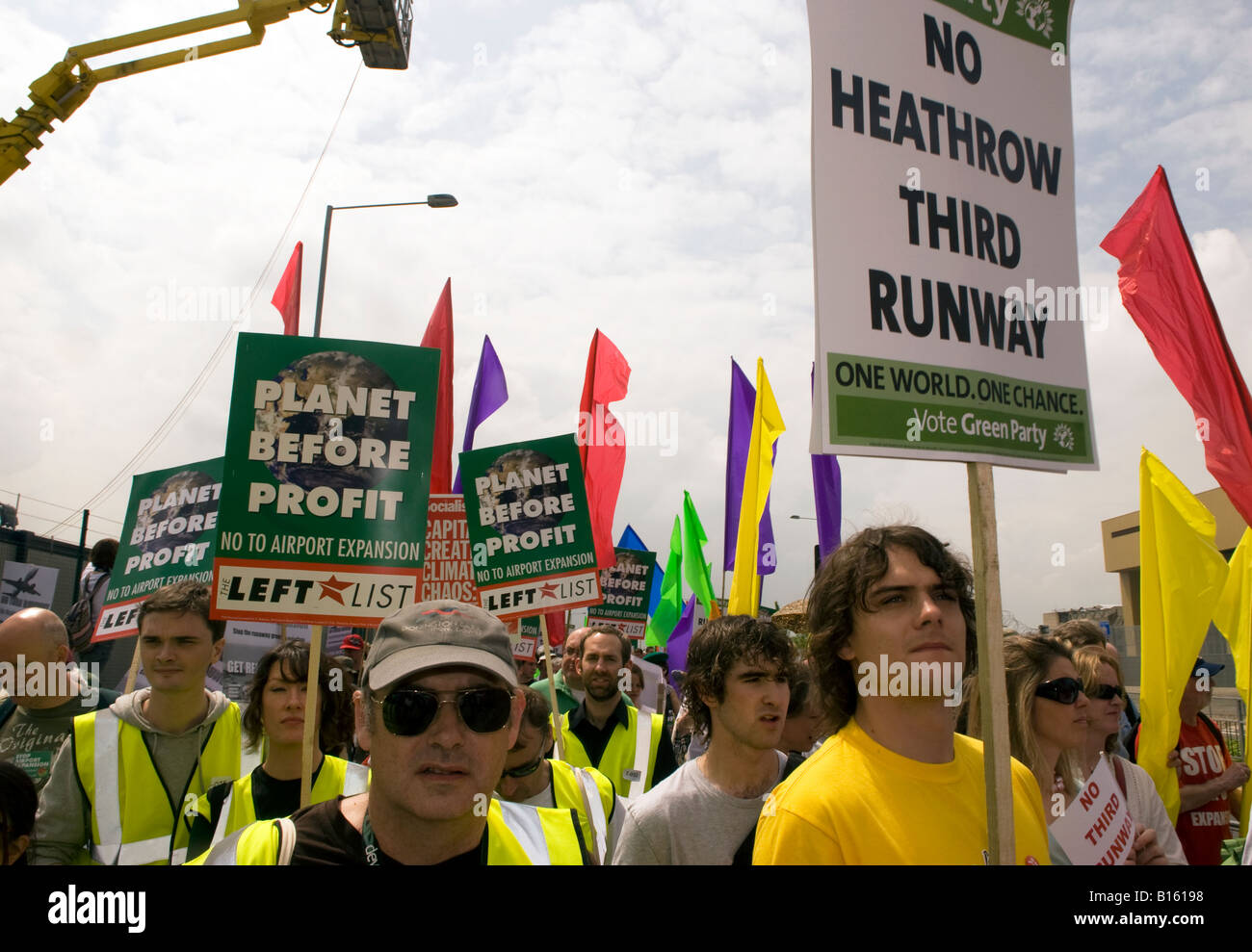 Protesters against plannned 3rd Heathrow runway say an emphatic NO at Sipson Park 31st May 2008 - Stock Image