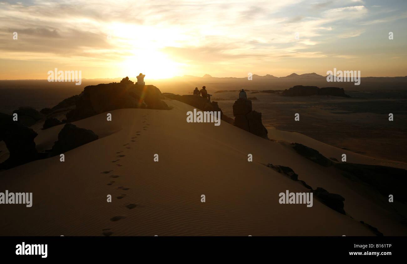 Couple in Tagelment Samedat Tassili Ahaggar Sahara desert Algeria - Stock Image