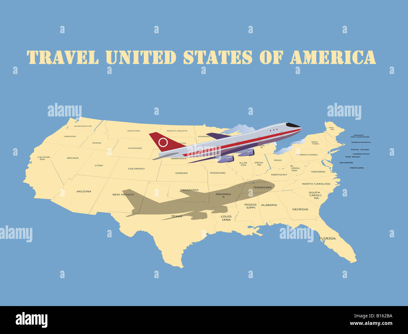 Map Of Planes In Air Over Us Travel United States of America: a passenger plane over the USA