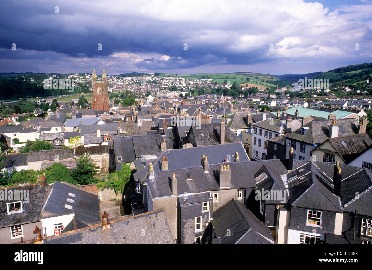 Totnes Devon town church houses streets English townscape view England UK travel - Stock Image