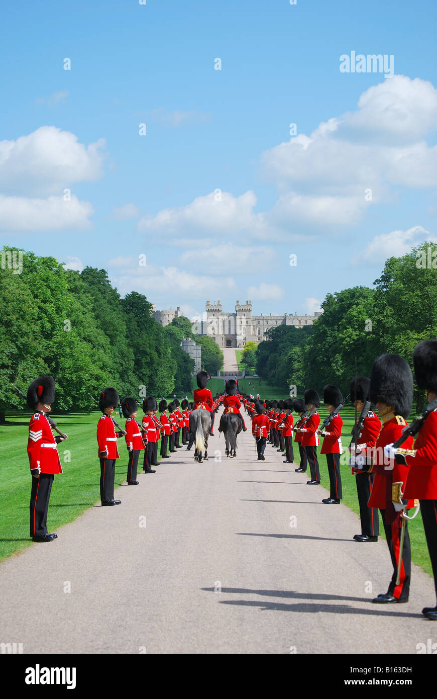 Household Cavalry parading on The Long Walk, Windsor Castle, Windsor, Berkshire, England, United Kingdom Stock Photo