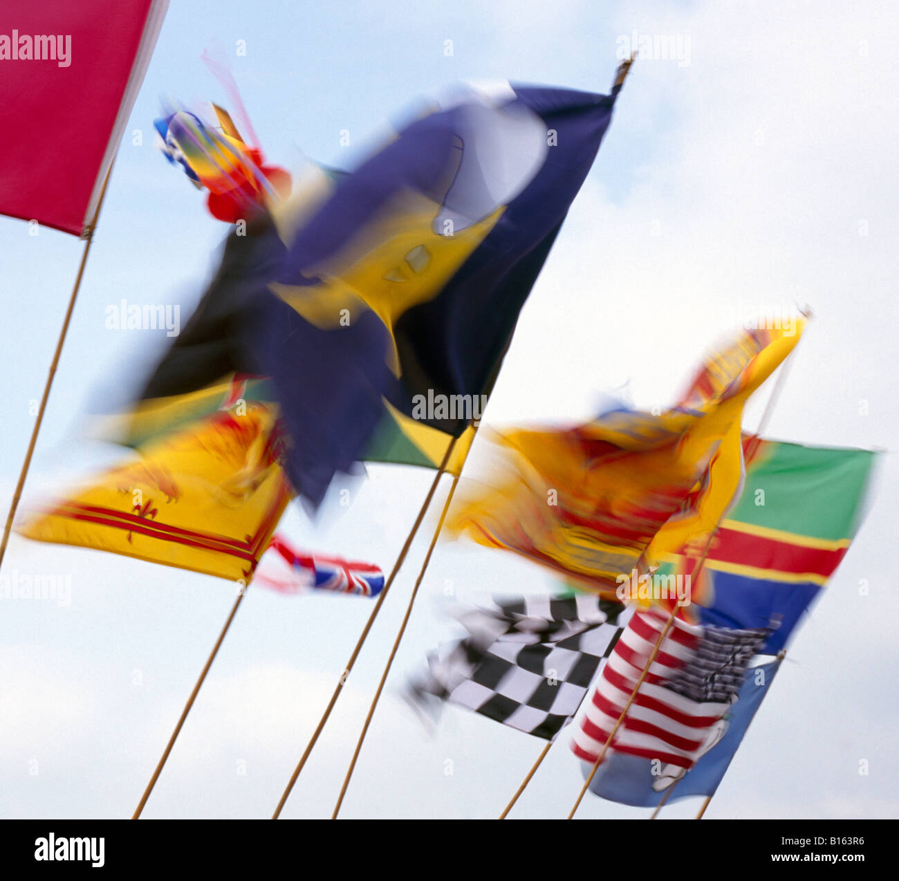 Flags in the wind. Stock Photo