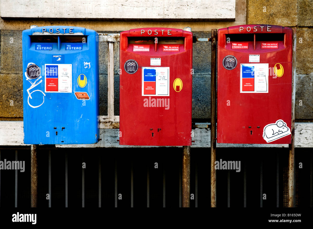 Old Italian mailboxes, Rome Italy Stock Photo
