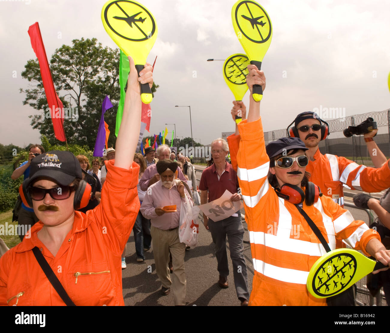 Protesters against plannned 3rd Heathrow runway say an emphatic NO at Sipson Park 30th May 2008 - Stock Image