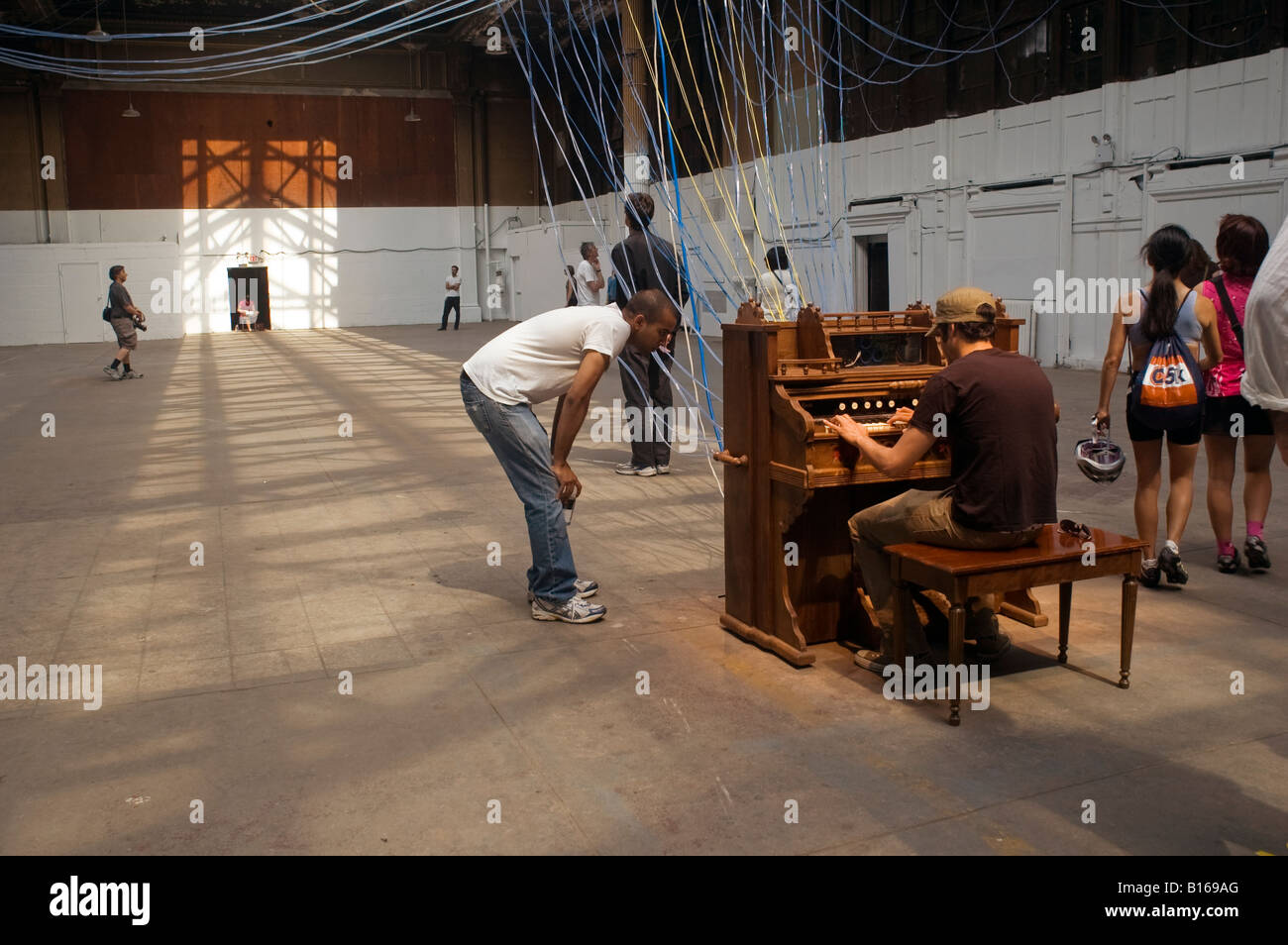 Playing the Building An Installation by David Byrne in the Battery Maritime Building in Lower Manhattan - Stock Image