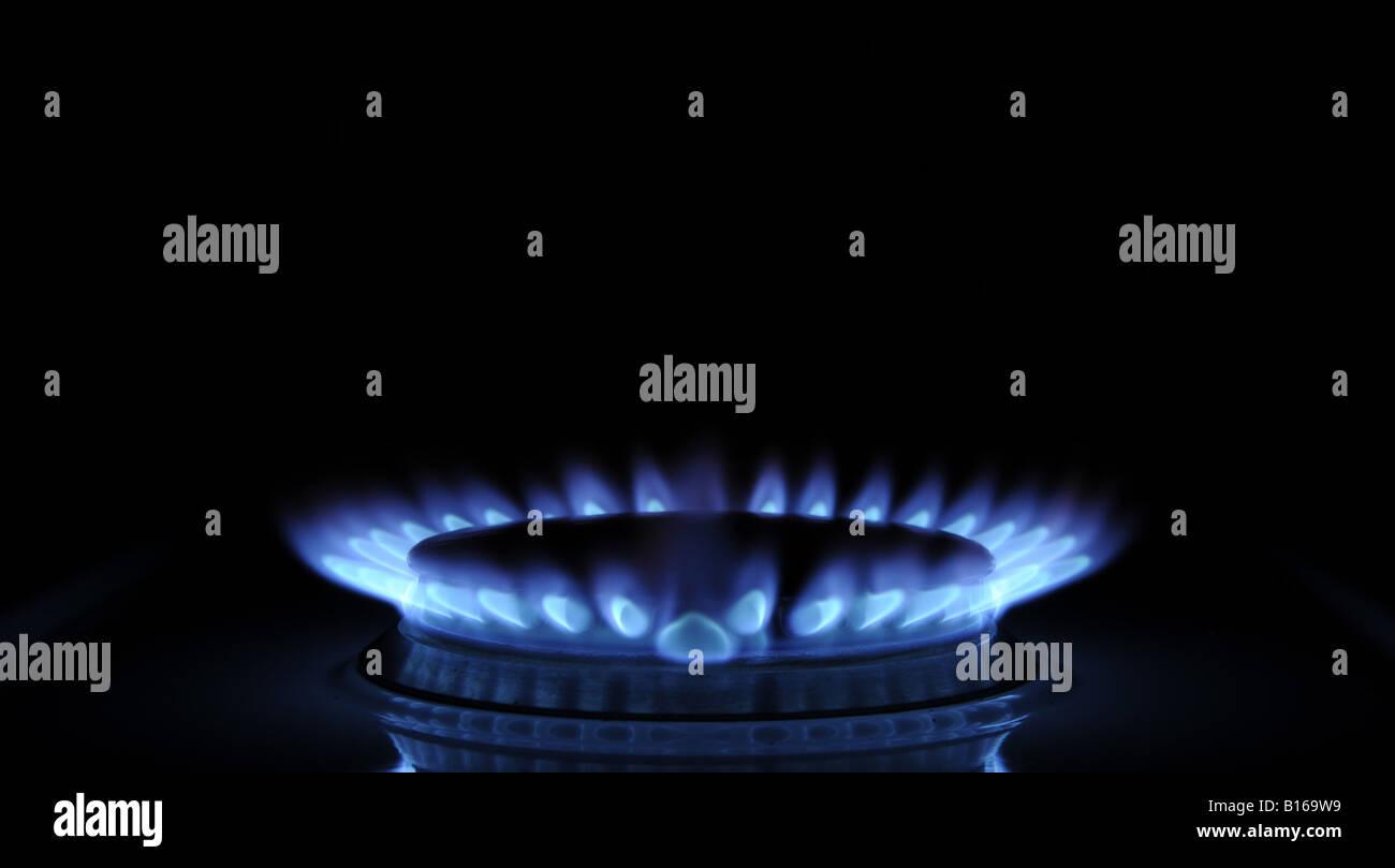 A BRITISH COOKER BURNING GAS RING,UK - Stock Image