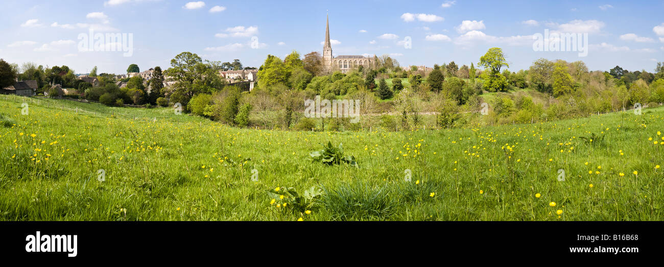 A panoramic view of the Cotswold town of Tetbury, Gloucestershire - Stock Image