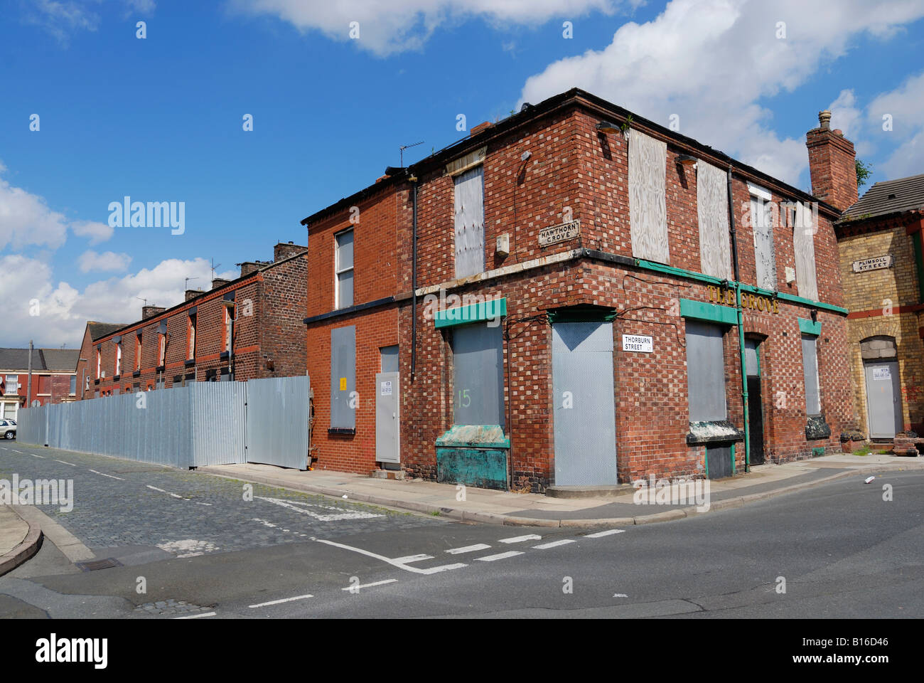 Hawthorne Grove in Edge Hill district of Liverpool in the process being demolished after being compulsory purchased. - Stock Image