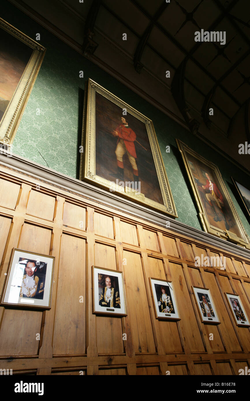 City of Chester, England. Chester Town Hall Assembly Room with Duke of Westminster portraits. - Stock Image