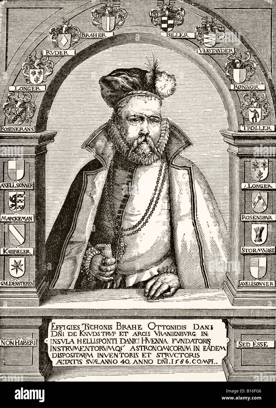 Tycho Brahe 1546 to 1601 Danish astronomer and alchemist after an engraving by Gheyn late 1600s - Stock Image