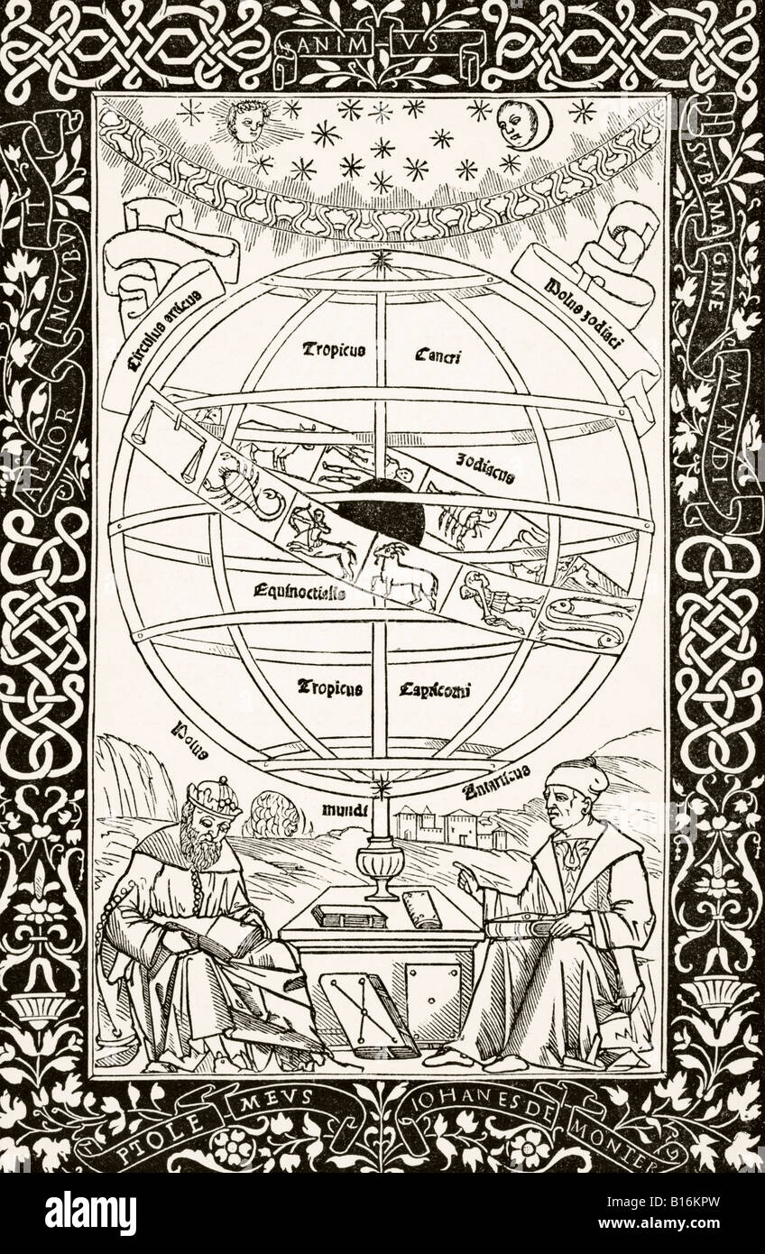 Ptolemys System explained by Johannes Müller von Königsberg right 1436 to 1476 German astronomer astrologer - Stock Image