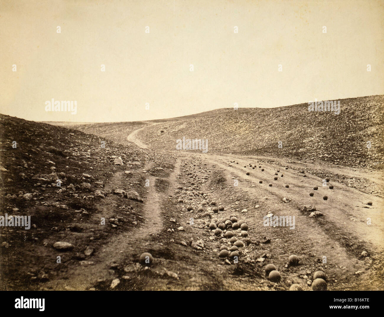 Battlefield scene after charge of the light brigade, Battle of Balaclava, Crimean War, 1854. - Stock Image