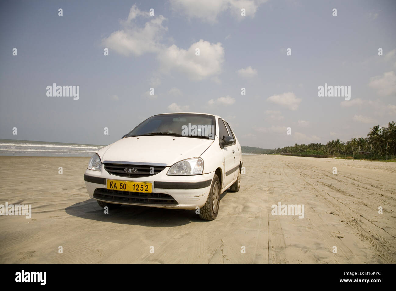 Tyre tracks on Muzhappilangad Drive In Beach near to Thalassery in Kerala. It is India's only drive in beach. - Stock Image