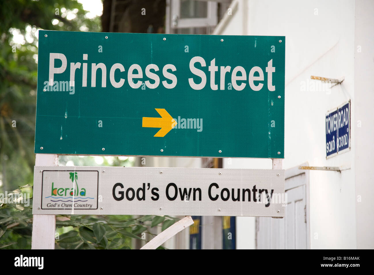 A street sign in Kochi (in Kerala, India). Kerala is marketed successfully as 'God's Own Country'. - Stock Image
