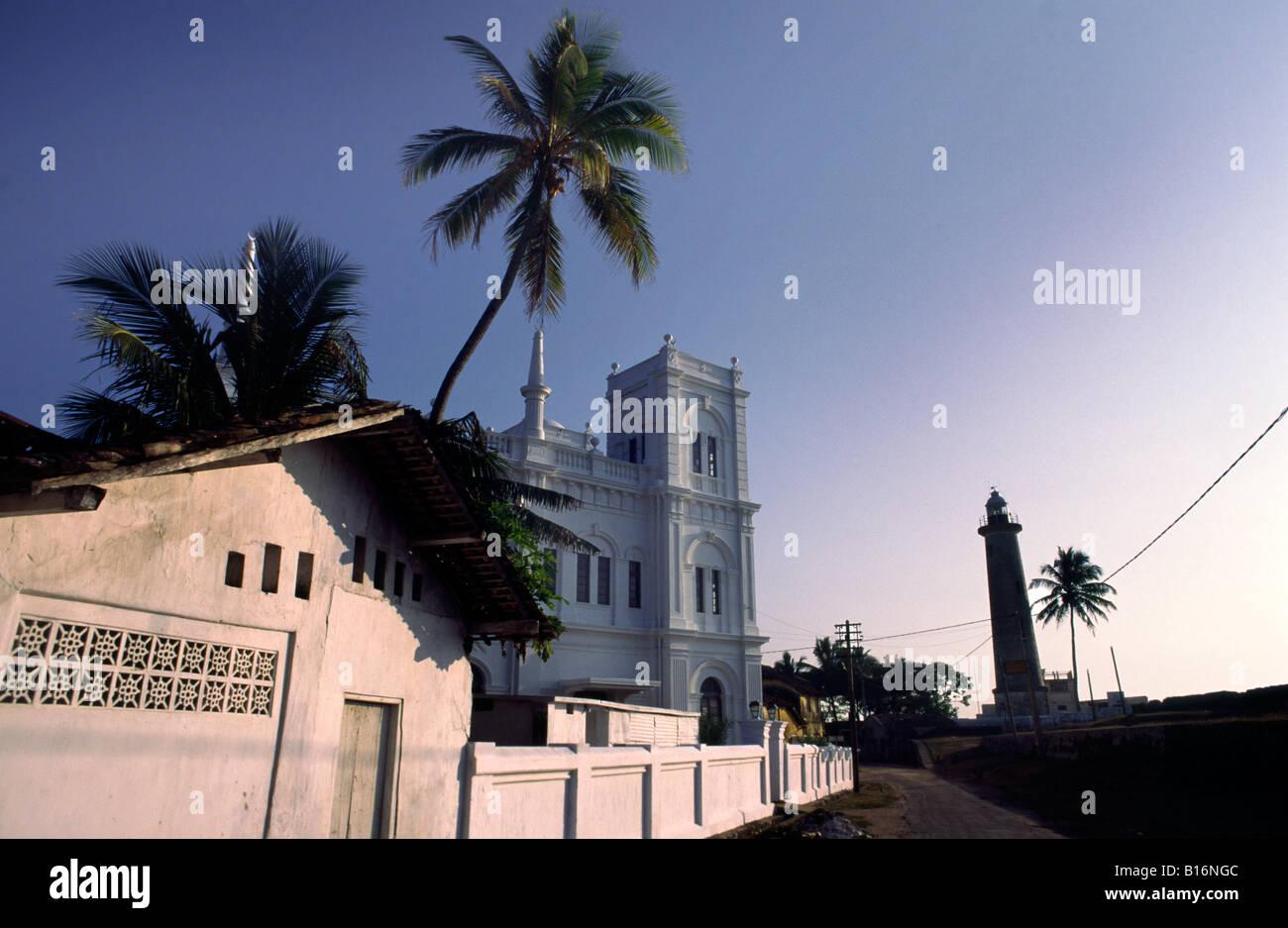 Fort Meeran Jumma Masjid Mosque and Galle light house. Galle, Sri Lanka. Stock Photo