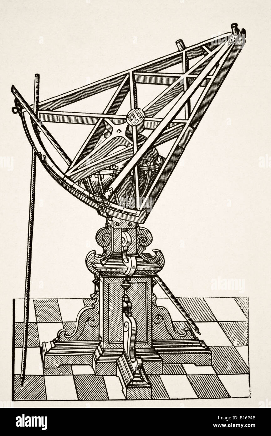 Astronomical Sextant for Measuring Distances after copper engraving in book Tychonis Brahe Astronomiae Instauratae - Stock Image