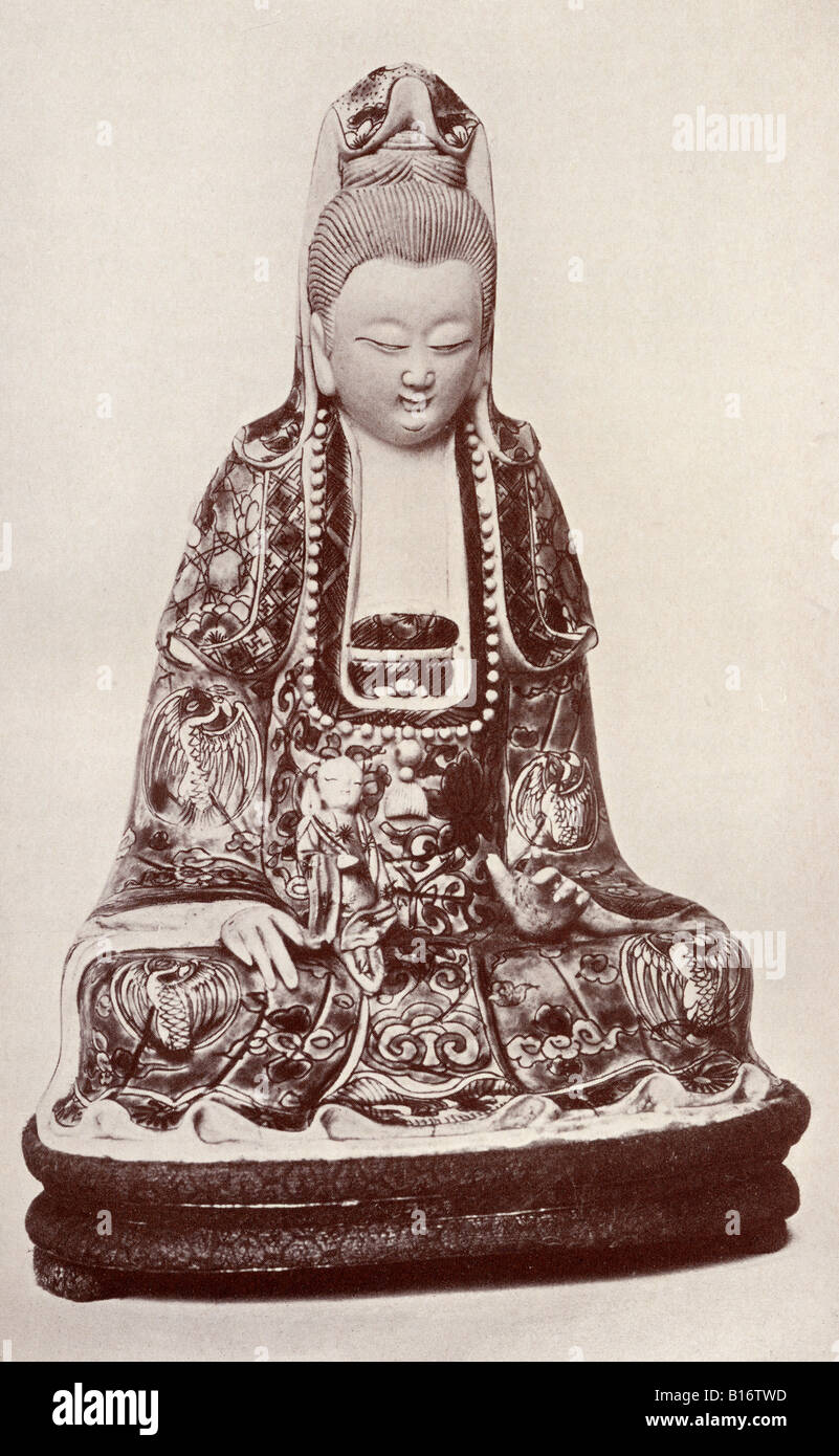 Kwan Yin The Chinese Goddess of Mercy From the book Myths of China and Japan by Donald A Mackenzie published c1915 - Stock Image