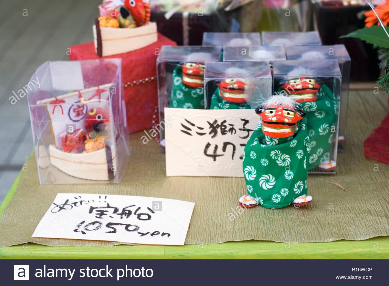 Miniature Shishi-mai lion figures, a symbol of good luck for