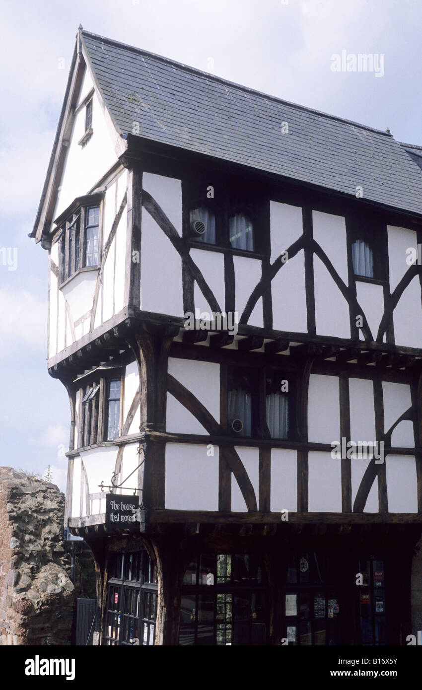 Exeter Devon The House That Moved timber framed house moved on rollers to present location black and white building - Stock Image