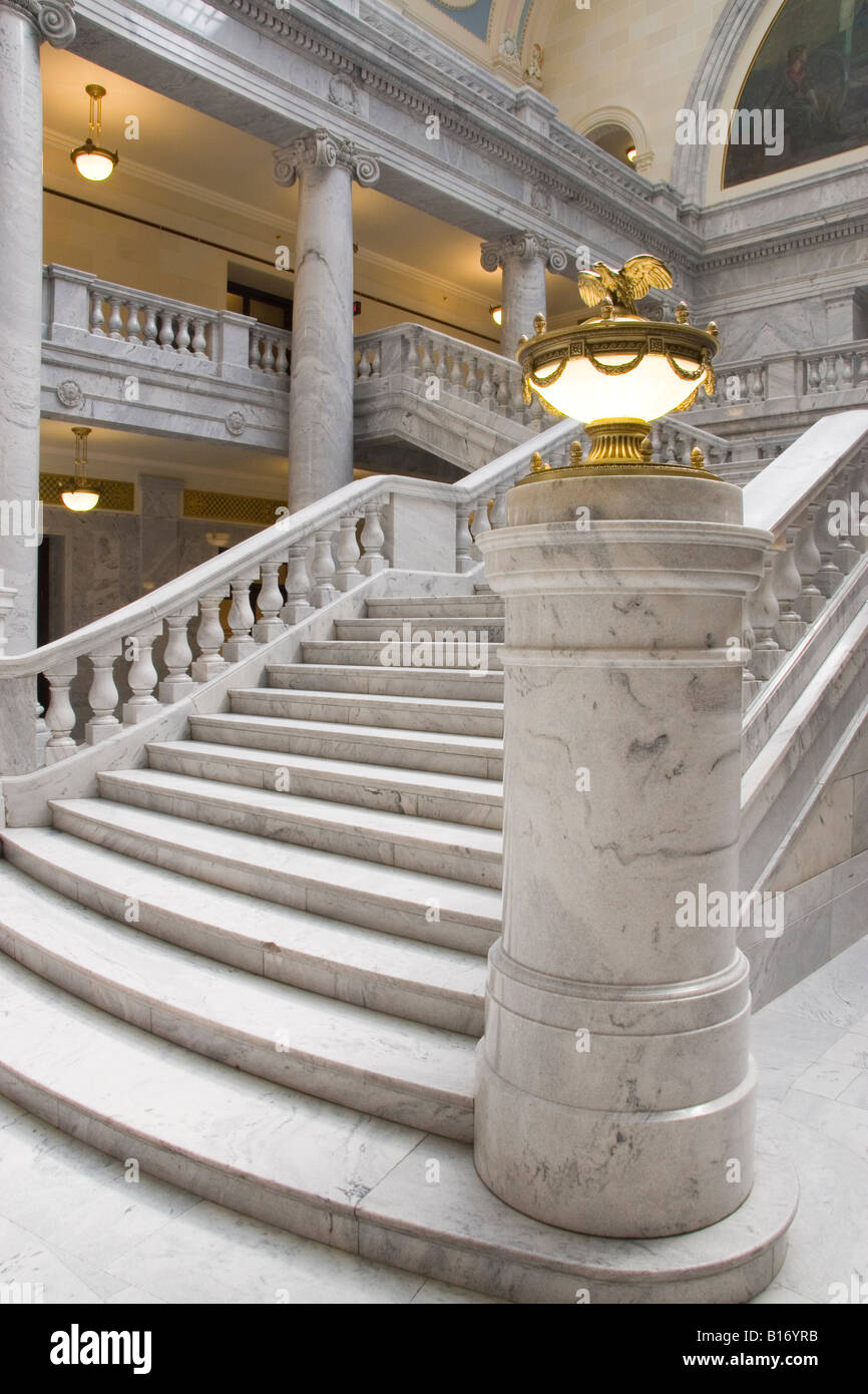 Marble staircase in the Utah State Capitol Building Stock