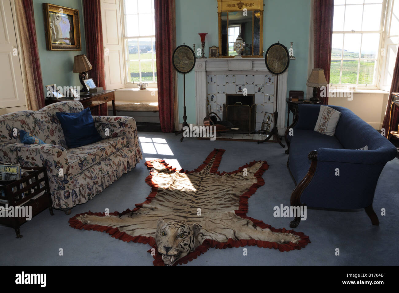 The drawing room at Skaill House in Orkney looks out over a Neolithic settlement called Skara Brae and the Bay of - Stock Image