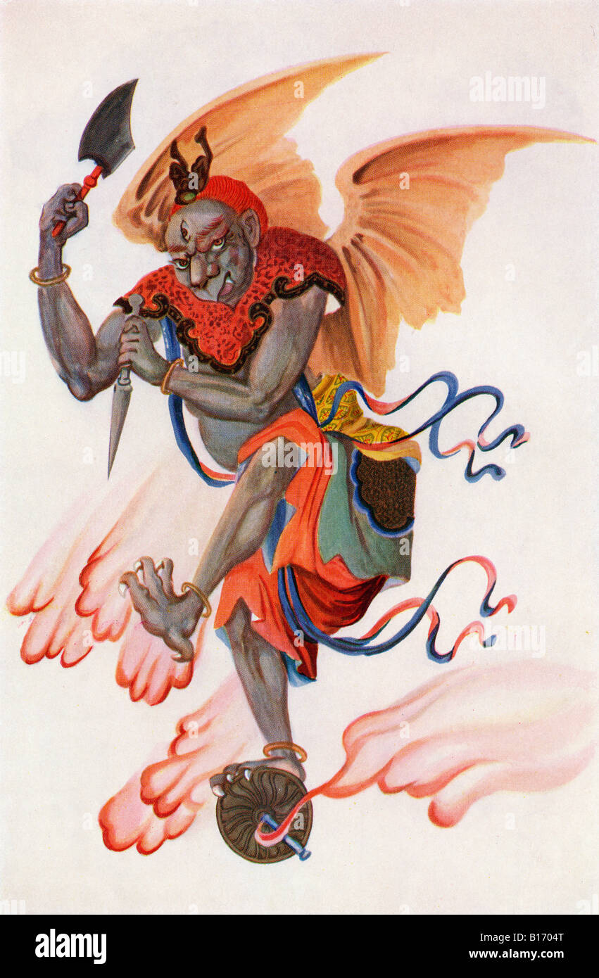 The God of Thunder From the book Myths of China and Japan by Donald A Mackenzie published c1915 - Stock Image