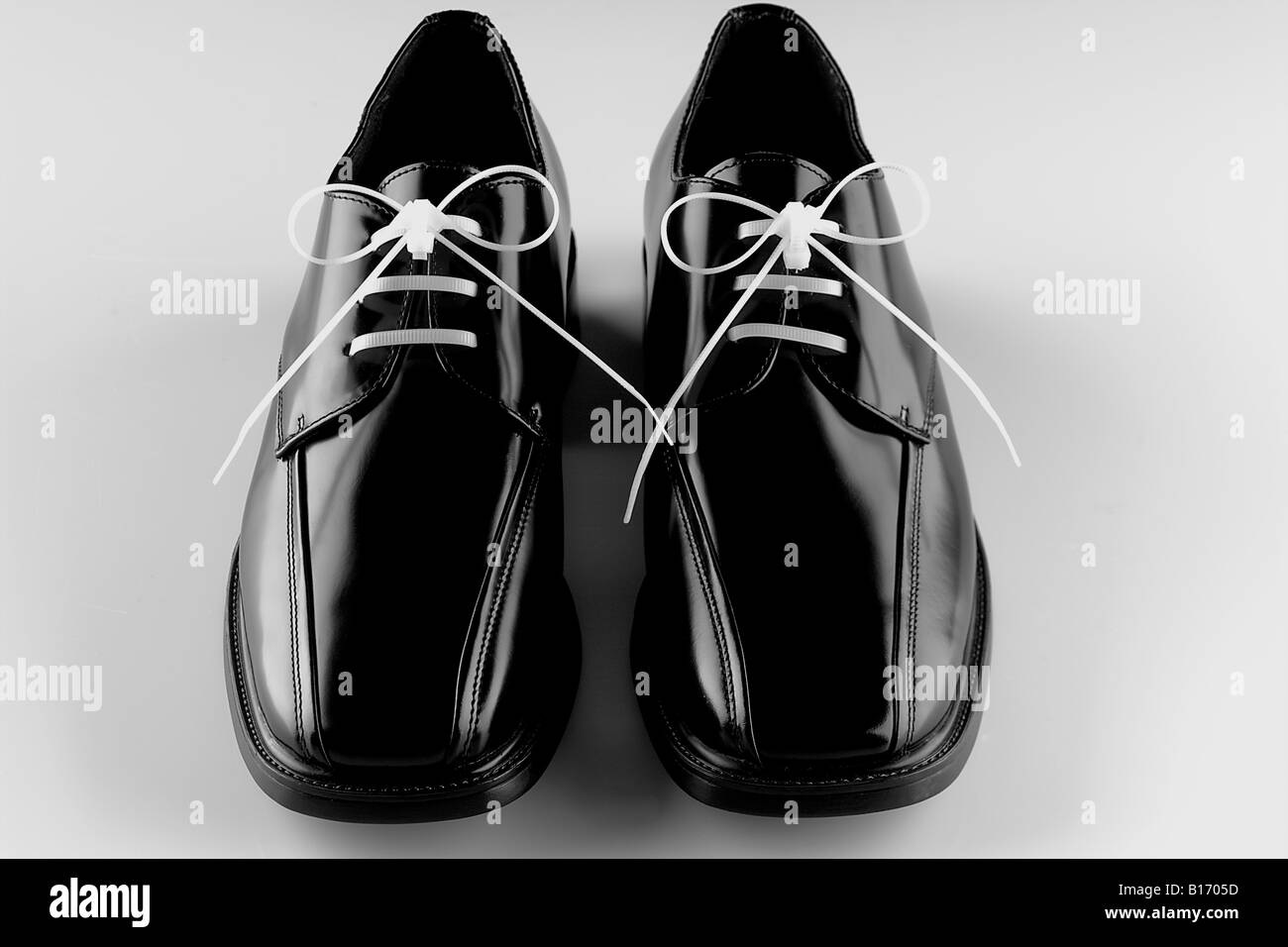 Black Mens Dress Shoes White Laces On White Background