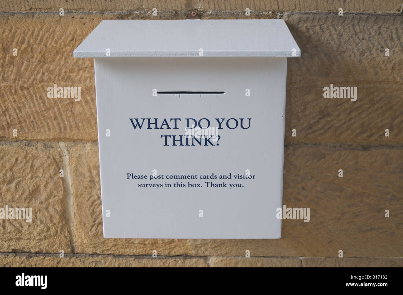 'What do you think' - Comments and suggestion box at English Stately Home, England,UK Stock Photo