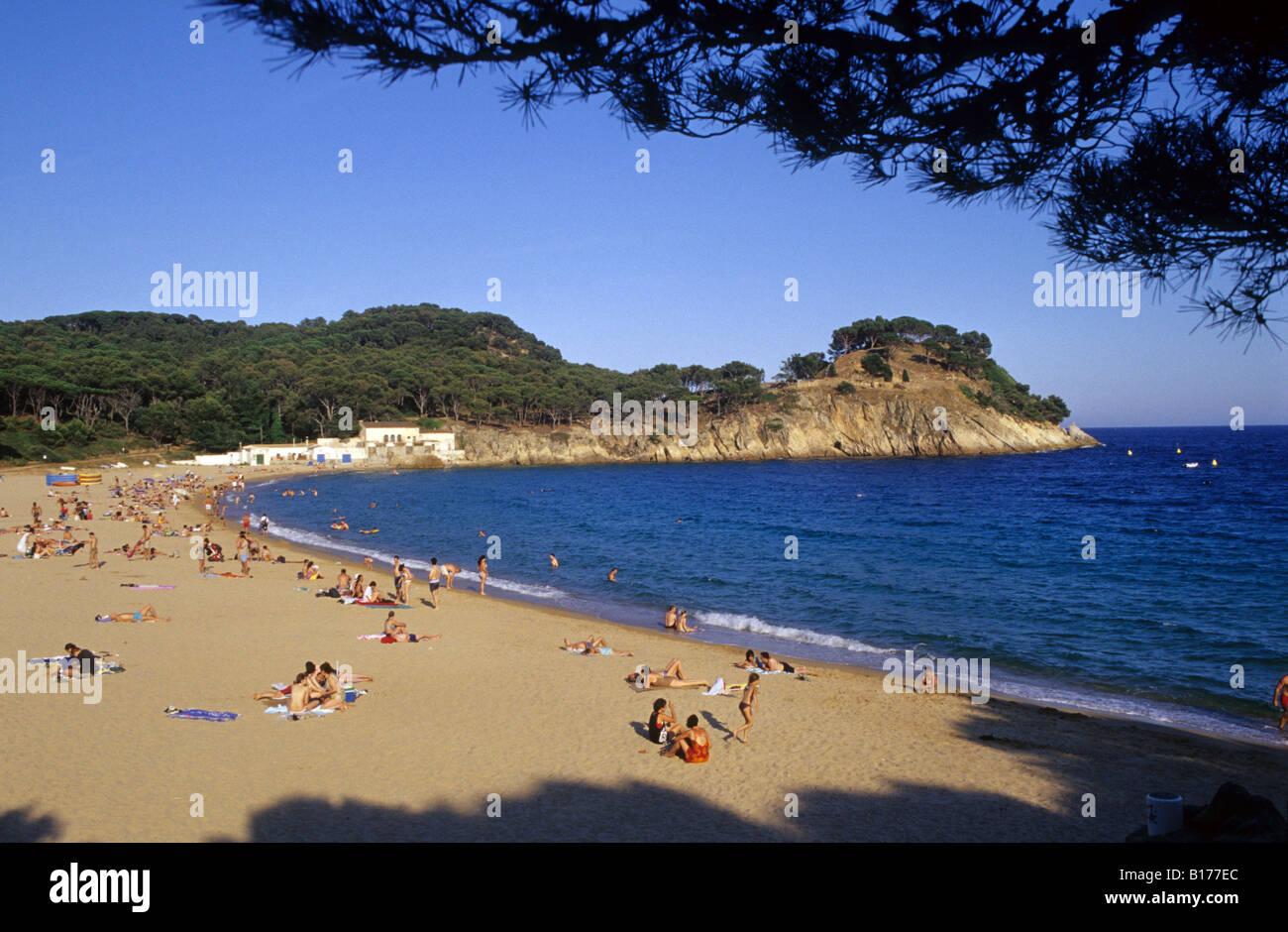 Es Castell beach Palamos Costa Brava Baix Emporda Girona province Catalonia Spain - Stock Image