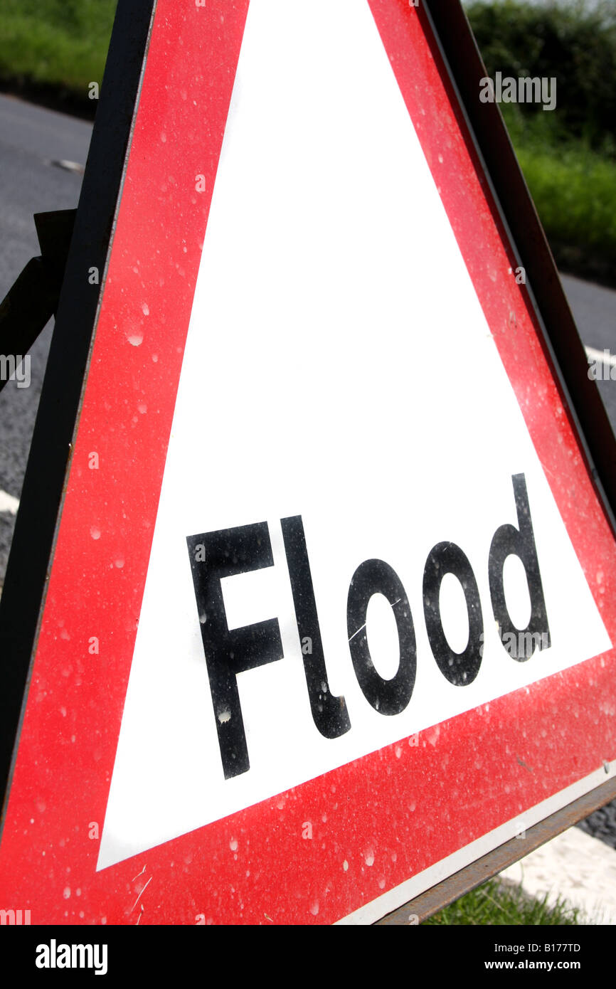 A flood warning road sign - Stock Image