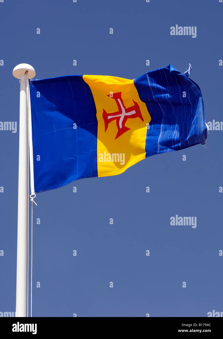 The flag of Porto Santo, the Portuguese Atlantic island near Madeira. - Stock Image