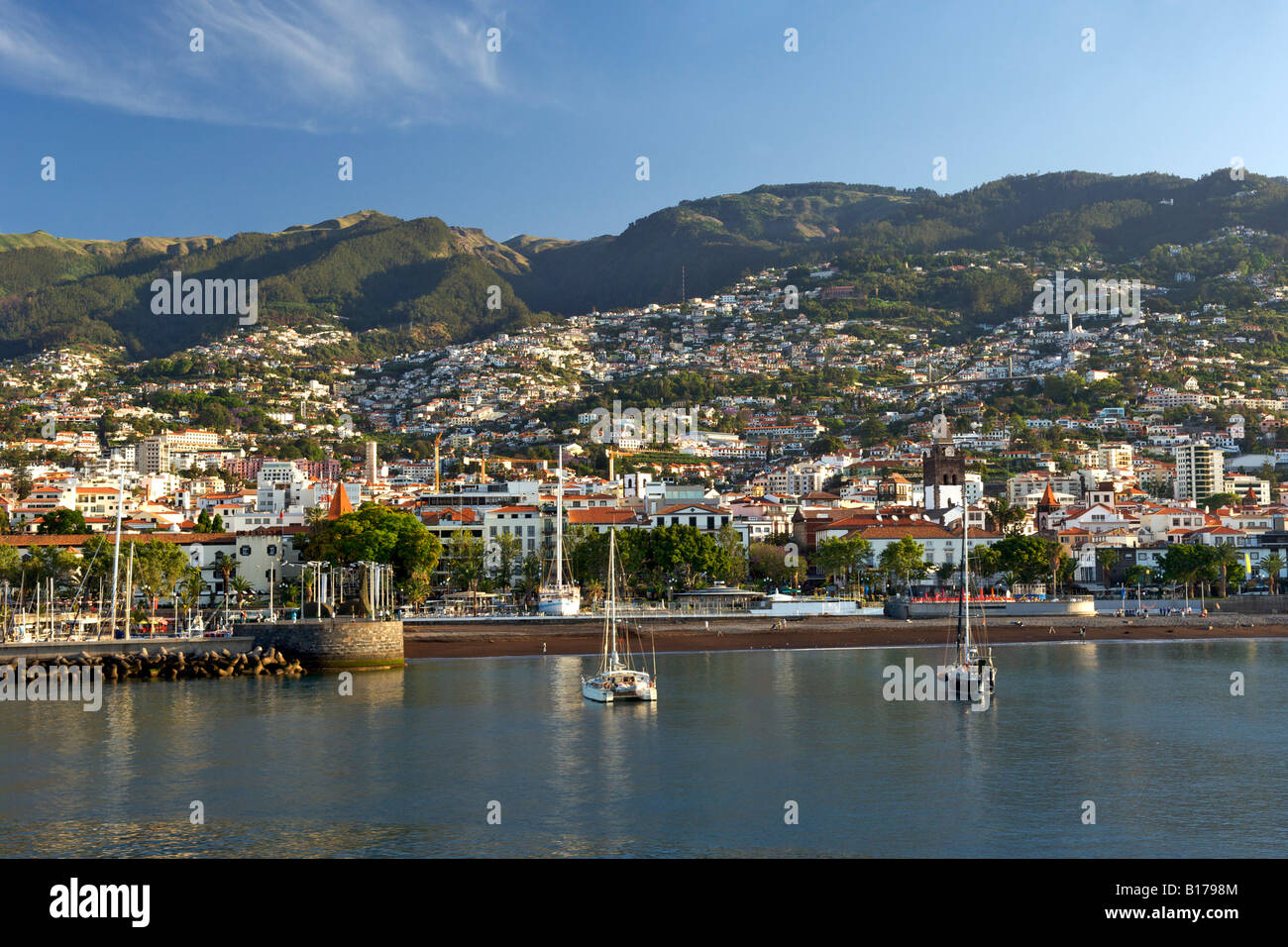 View of the town of Funchal and the Portuguese Atlantic island of Madeira. - Stock Image