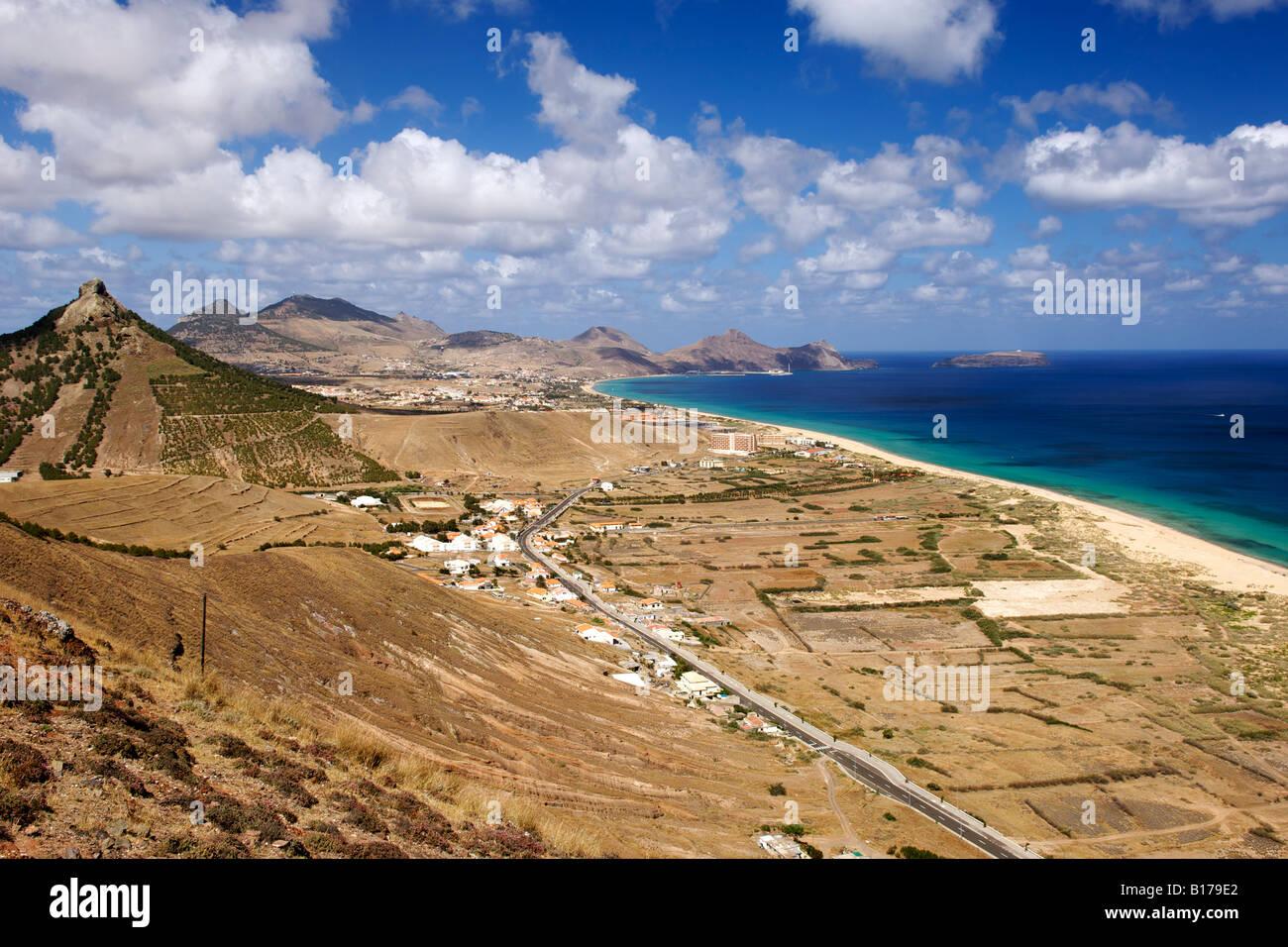View along the beach of the Portuguese Atlantic island of Porto Santo from Miradouro das Flores. - Stock Image