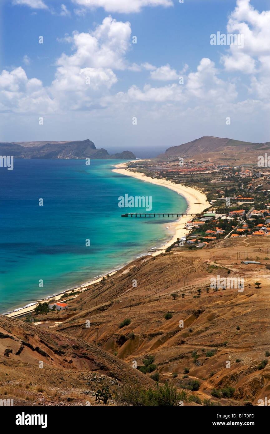 View of the beach and town of Vila Baleira seen from the Portela lookout point on the Portuguese Atlantic island - Stock Image
