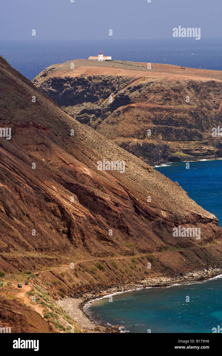 View of the coastline and Ilhéu de Cima island on the Portuguese Atlantic island of Porto Santo. - Stock Image