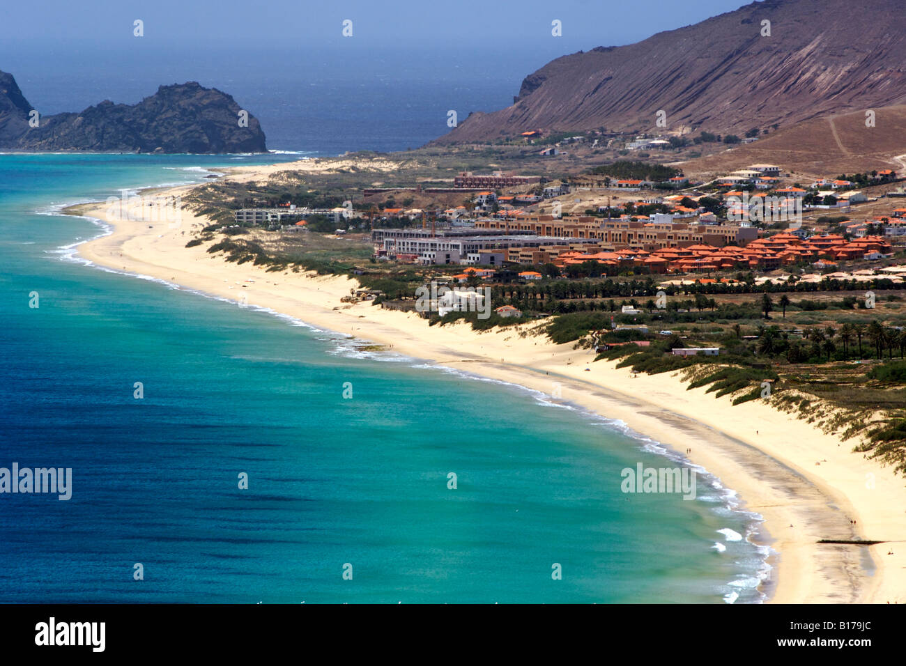 View of the beach seen from the Portela lookout point on the Portuguese Atlantic island of Porto Santo. - Stock Image