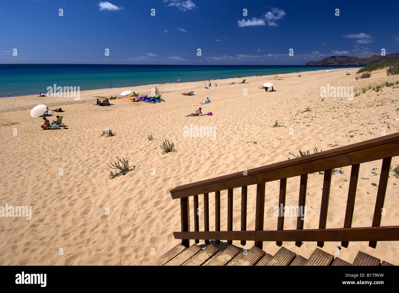 View along the beach of the Portuguese Atlantic island of Porto Santo. - Stock Image