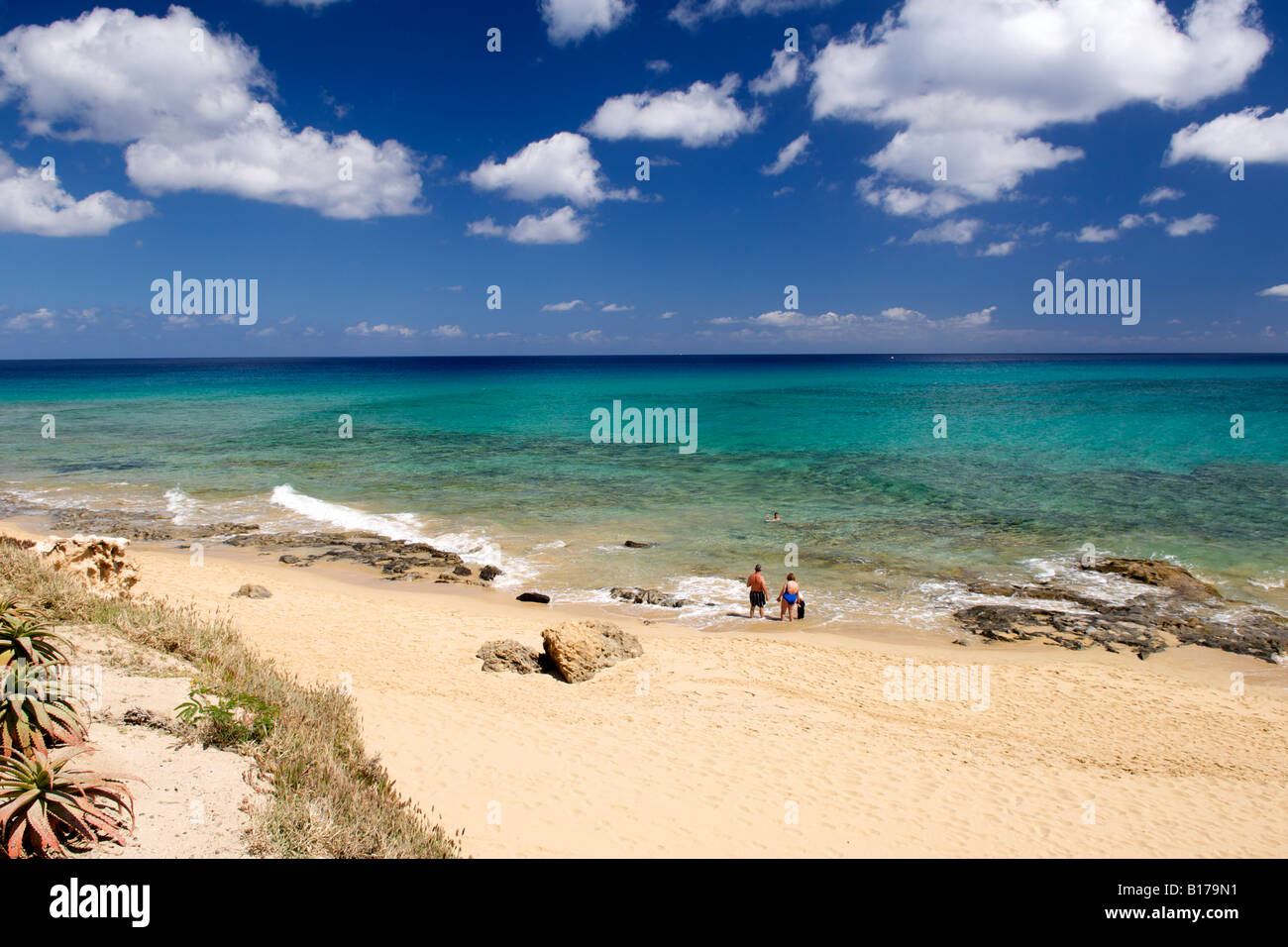 The beach at Ponta da Calheta on the Portuguese Atlantic island of Porto Santo. - Stock Image