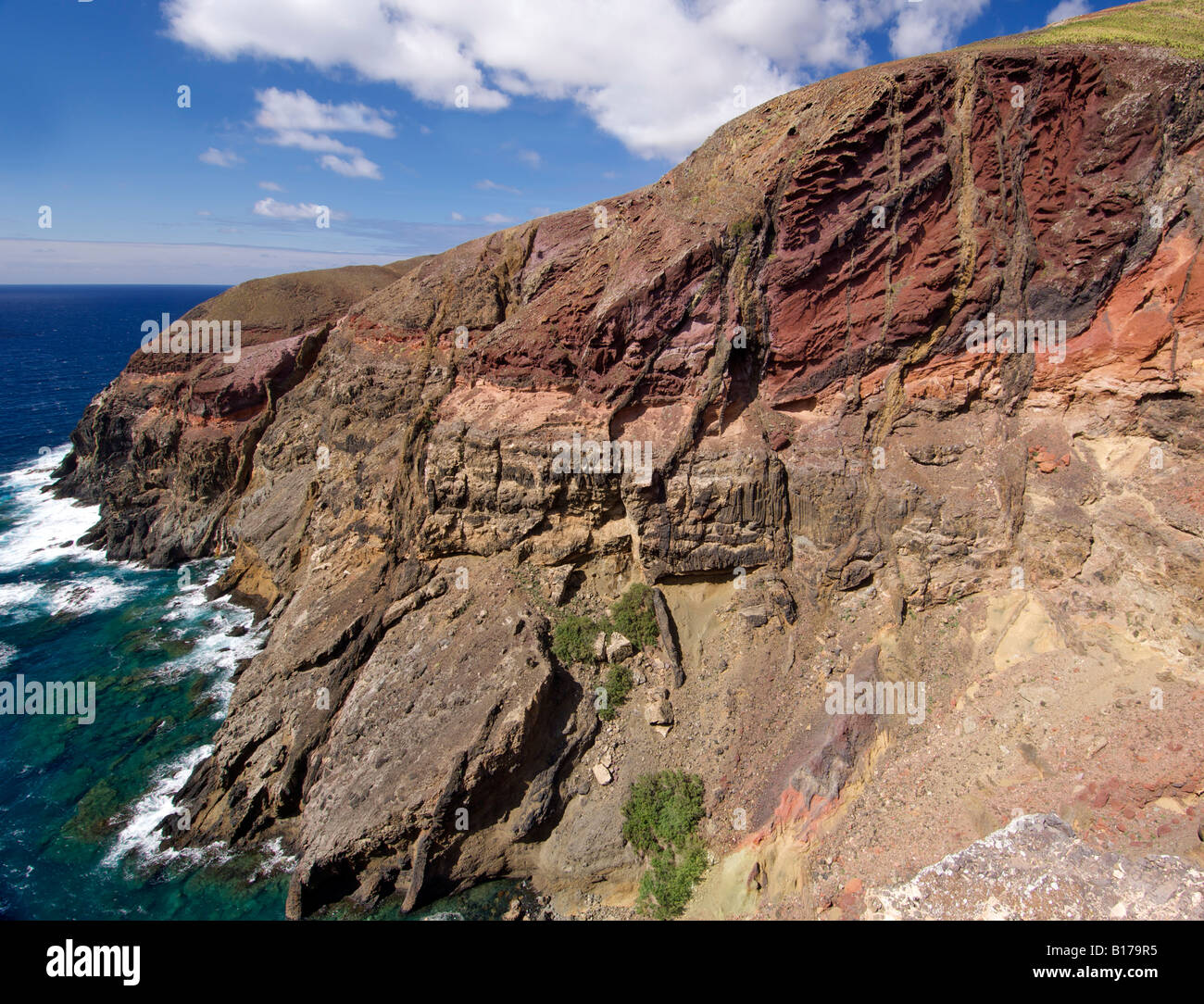 Coastal landscape at Ponta do Gabriel on the Portuguese Atlantic island of Porto Santo. - Stock Image